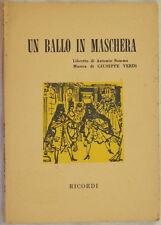 GIUSEPPE VERDI UN BALLO IN MASCHERA ANTONIO SOMMA LIBRETTO TEATRALE TEATRO 1973