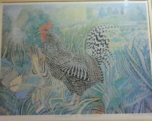 Vntg. Print Picture of Cockerel, Landscape,after  Alex Williams, signed