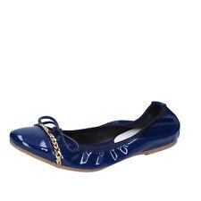 scarpe donna CROWN 36 ballerine blu vernice BZ948-C