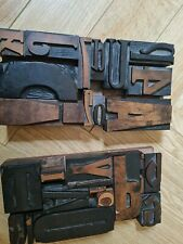 More details for vintage letterpress wooden printing blocks many pieces