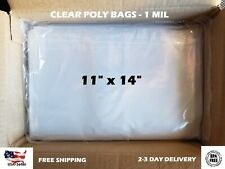 """11x14"""" Clear Poly Bags Flat Open Top 1-Mil ml LDPE Plastic T-Shirt 100 200 1000"""