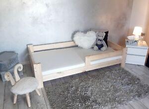 NeedSleep®  Kinderbett mit Rausfallschutz Jugendbett 70x140 80x160 90x180 Holz