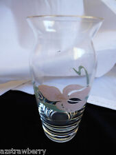 Vintage Czech Bohemian crystal clear glass bud vase pink orchard pattern 4.75""