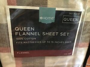 TARGET HOME  4 Piece FLANNEL QUEEN FITTED & FLAT SHEET SET New