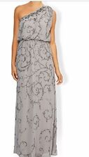 New MONSOON Ember One Shoulder Party Maxi Dress 10 Grey Silver Sequins RRP £169