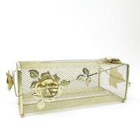 VTG Hollywood Regency Gold Roses Metal Wire Mesh Tissue Holder