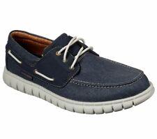 Skechers Navy Shoe Men Soft Canvas Memory Foam Slipon Comfort Boat Casual 204040