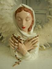 Lg. Beautiful Hand Painted VINTAGE VIRGIN MARY HEAD BUST~Wooden Rosary Beads