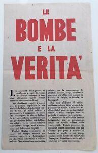 PROPAGANDA LEAFLET DROPPED BY THE RAF OVER ITALY IN WW2 - LE BOMBE E LA VERITA