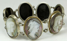 VINTAGE STERLING SILVER AND GOLD CAMEO BRACELT 7 DIFFERENT PORTRAITS