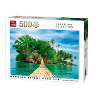 500 Piece Landscape Jigsaw Puzzle Hanging Bridge Over Sea Paradise Island 05536