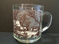 Currier & Ives Luminarc Winter In The Country The Old Grist Mill Glass Cup Mug