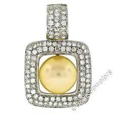 14k Oro Blanco Grande De Perla & 3.0ctw Diamante Cuadrado POTENCIADOR Pendiente