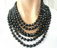Beautiful 6 Strand Black Faceted Glass Crystal Vintage Necklace