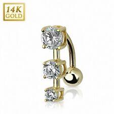 Piercing ombelico invertito Oro 14 carati gemme cerchi