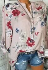 Women V-neck Chiffon Tops Long Sleeve Tunic Blouse Flower Print Shirts Plus Size