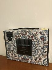 New Cynthia Rowley King Duvet Cover Set With 2 Shams Ornate Multicolor Paisley