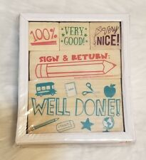 5 pc Wood Rubber Stamps SET Teaching Supplies Well Done 100% Sign & Return