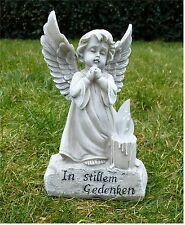 *Engel mit LED-Kerze Grabschmuck Grabdeko *In stillem Gedenken* hell-antik 11x18