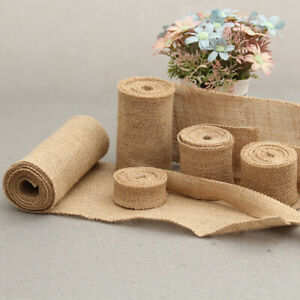 2M Natural Jute Burlap Hessian Ribbon Rolls Vintage Rustic Wedding Dec   pz