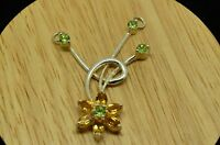 STERLING SILVER BEAUTIFUL YELLOW CITRINE & PERIDOT FLOWER PENDANT CHARM #X21133