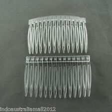 200 Bulk Brand New  Plastic Hair Combs Findings Clear 47x70mm (PHAR-R018-2)