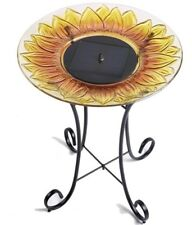 Birdbath Fountain Glass Solar Sunflower Design in Multi-Colored with Steel Base