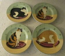 "4 Warren Kimble Cat Collection Folk Art 8"" Plates Sakura Onieda Stoneware"