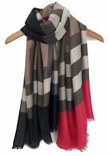 LADIES MULTI COLOURED COLOUR BLOCK PRINT LARGE  SCARF SHAWL WRAP RED BROWN BEIGE