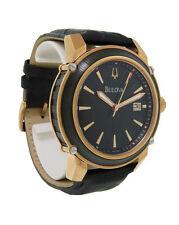 Bulova 98B161 Men's Round Analog Date Black Rose Gold Tone Leather Watch