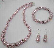 Dusky Pink Pearl Necklace & Matching Bracelet & Free Earrings when you buy both
