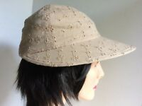 Dark Beige Embroidered Eyelet Women's Sun Visor Hat