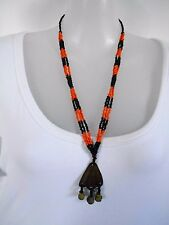 Orange and Black Beaded Necklace