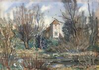 SIDNEY DENNANT MOSS (1884-1946) Watercolour Painting CHURCH & RIVER LANDSCAPE