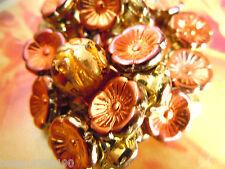 Neue glänzende Copper Orange m.Gold Luster Button-Blütenperlen -12mm- 15Stk.