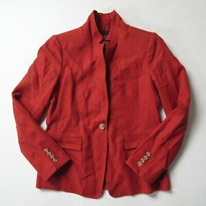 NWT J.Crew Regent Blazer in Radio Red Linen Single Button Jacket 8P $168