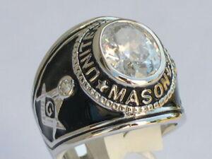 925 Silver United States Mason Masonic April Clear CZ Stone Men's Ring Size 12