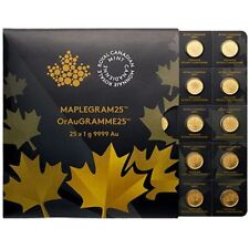 Maplegram Gold 2019 Maple Coins - RCM 25 x 1 g Gold Sheet - Royal Canadian Mint