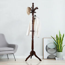 Solid Vintage Coat Rack Stand Wood Hall Tree Antique Cloth Garment Entryway Hook