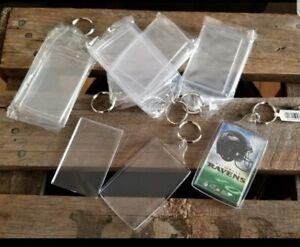 100 Pcs Acrylic Rectangle Translucent Keychain Blanks- Insert your own photo-art