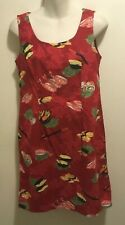 EUC Retro Pinup Japanese Sushi Rolls Red Floral Sheath Dress Large