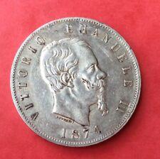 Italie - Vittorio Emanuele II - Près de Superbe  monnaie de 5 Lire 1874 M