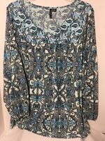 New Directions Pullover Top Blue White and Black Color Abstract Paisley Print