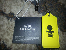 COACH x PEANUTS Snoopy CHARLIE BROWN Yellow LEATHER HANGTAG Keychain Fob Charm