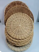 Vtg Lot of 8 Wicker Rattan Bamboo Paper Plate Holders basket wall decor + Bowls