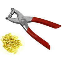 NEW EYELET PLIERS TOOL KIT FREE 100 BRASS EYELETS-HOLE MAKER PUNCH LEATHER CRAFT