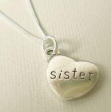 Collar De Plata 925 Con Corazón De Plata Antigua Hermana Colgante