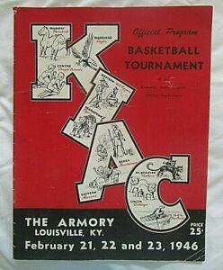 1946 Kentucky Intercollegiate Tournament Basketball Program Louisville, Kentucky