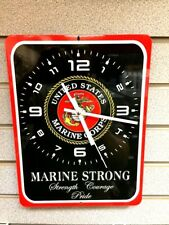 US MARINE Corps Strong Pride Courage Semper Fi Military Wall Clock Metal Sign