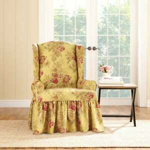 Sure Fit Ballad Bouquet Wing Chair Slipcover tea stain and crimson washable NEW